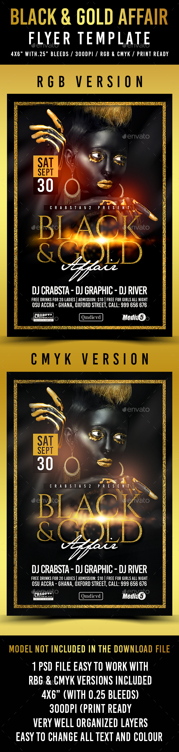 Black & Gold Affair Flyer Template - Flyers Print Templates