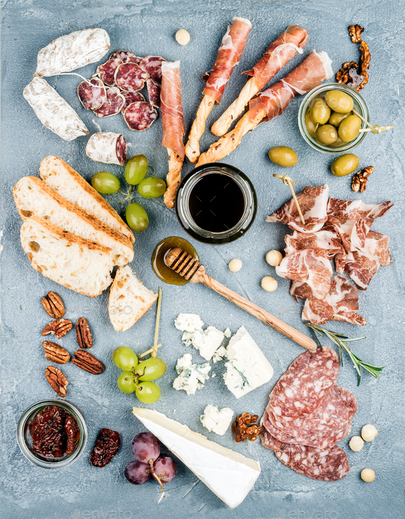 Cheese and meat appetizer selection or wine snack set - Stock Photo - Images