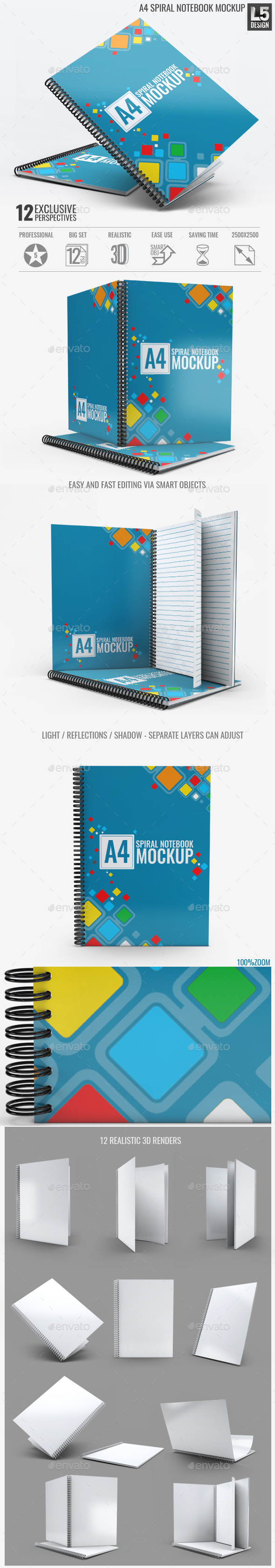 A4 Spiral Notebook Mock-Up - Miscellaneous Print
