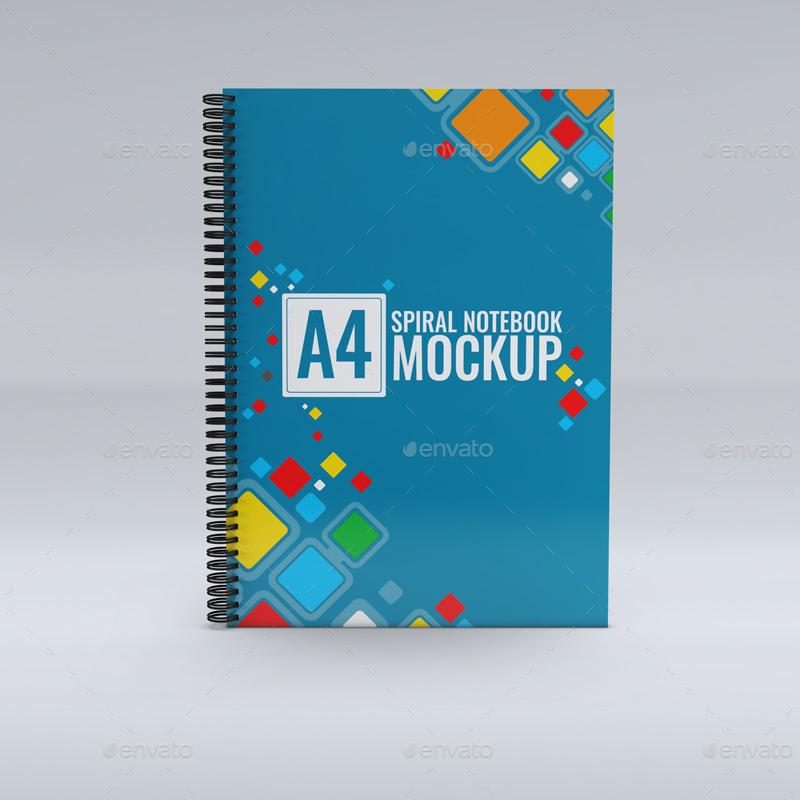 a4 spiral notebook mock
