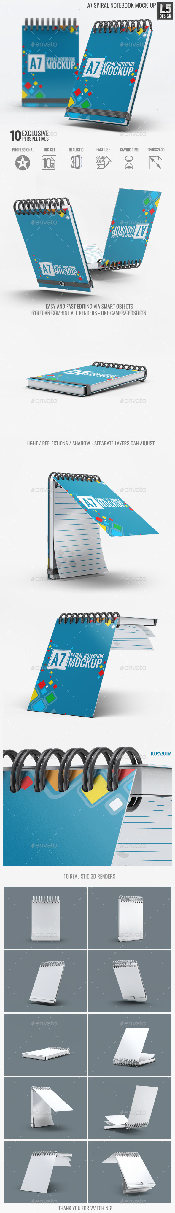 A7 Spiral Notebook Mock-Up - Miscellaneous Print