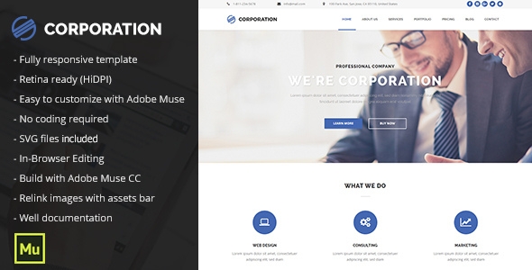 Corporation – Responsive Corporate Portfolio Template