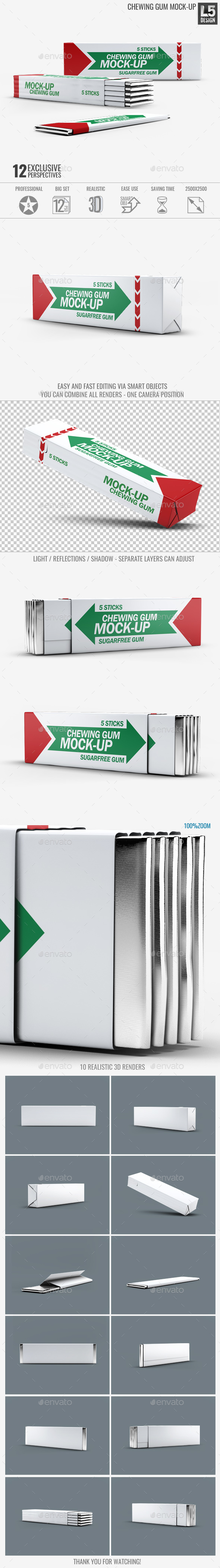 Chewing Gum Mock-Up v.2 - Food and Drink Packaging