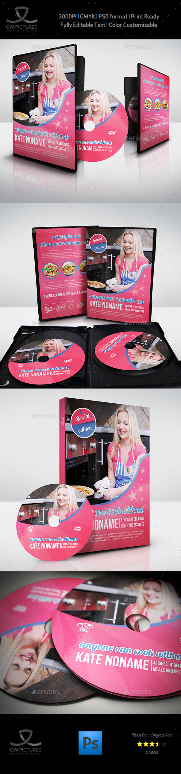 Food Cook DVD Cover and Label Template - CD & DVD Artwork Print Templates