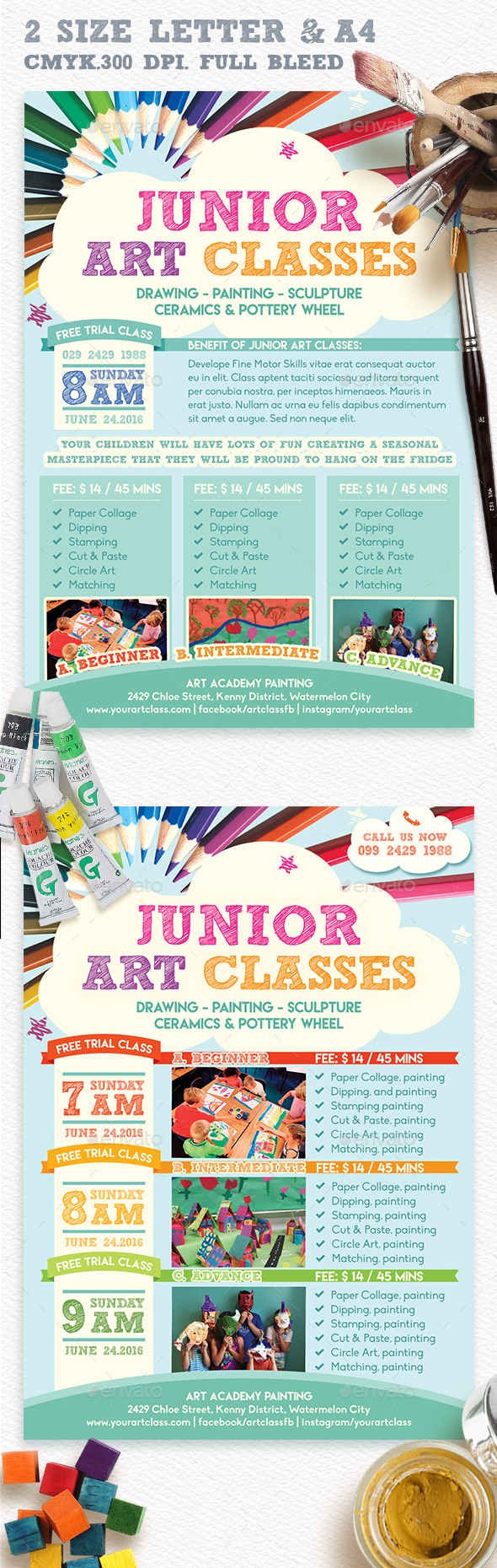 junior art free trial class flyer template by emty graphicriver