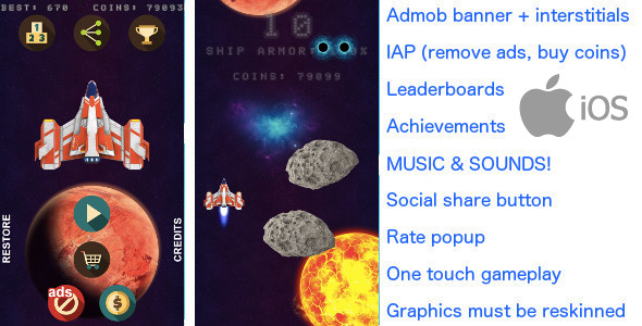 Asteroids Rain iOS +Admob banner & interstitials +In app purchase - CodeCanyon Item for Sale