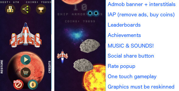 Asteroids Rain +Admob banner & interstitials +In app purchase - CodeCanyon Item for Sale