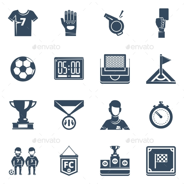 Soccer Flat Black Icon Set - Objects Icons