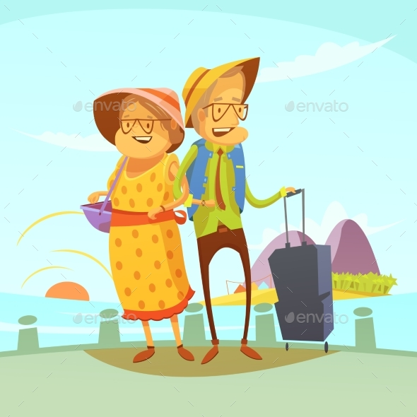 Senior Couple Traveling Illustration  - People Characters