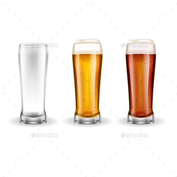 Three Transparent Glasses of Lager   - Food Objects