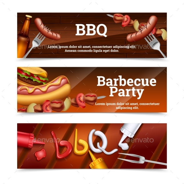 Barbecue Party Horizontal Banners - Food Objects