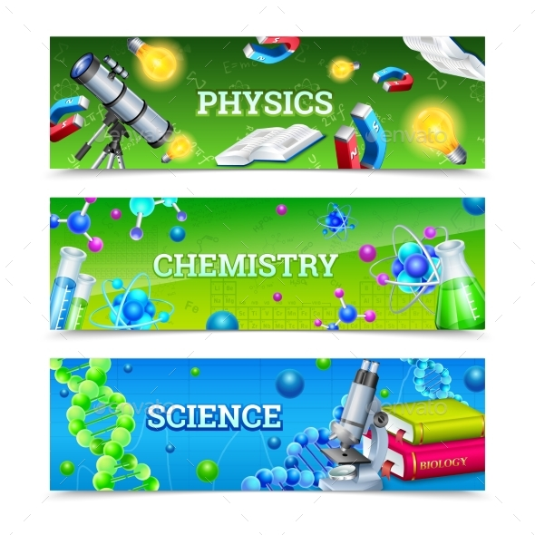 Science Laboratory Equipment Horizontal Banners - Miscellaneous Vectors