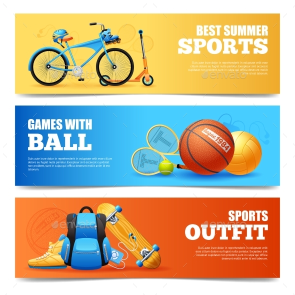 Summer Sports Banners Set - Sports/Activity Conceptual