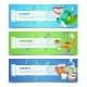 Dentist 3 Flat Horizontal Banners Set  - GraphicRiver Item for Sale