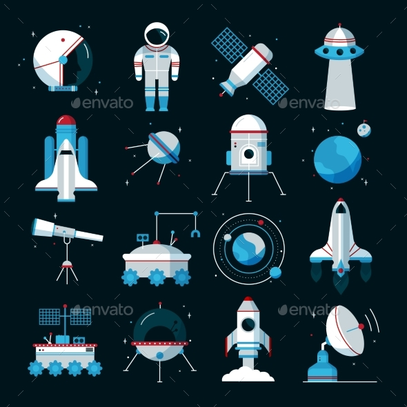 Spacecrafts Instruments Equipment Flat Icons Set - Objects Icons
