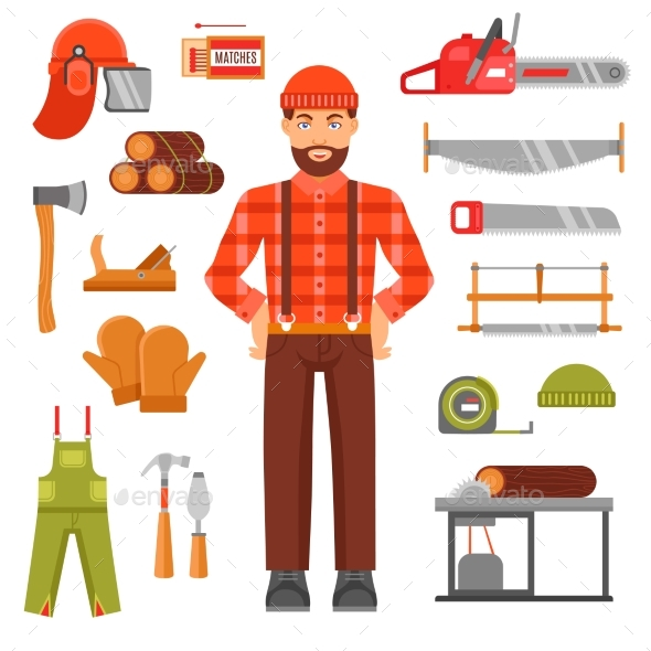 Lumberjack Decorative Flat Icons Set  - People Characters