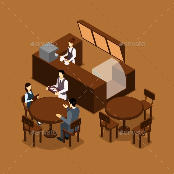 Waitress Barista People Isometric Brown Poster - Services Commercial / Shopping