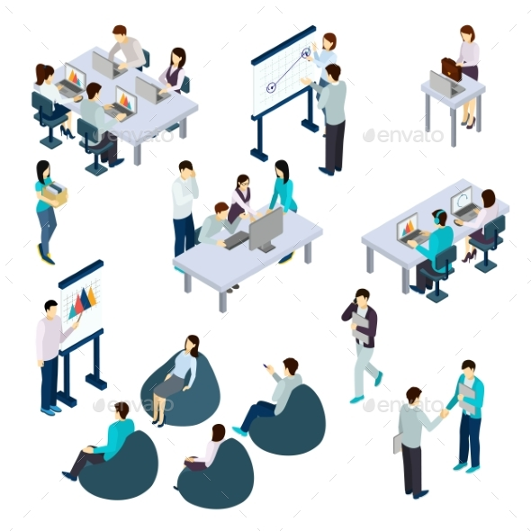 Coworking Isometric Set - Concepts Business