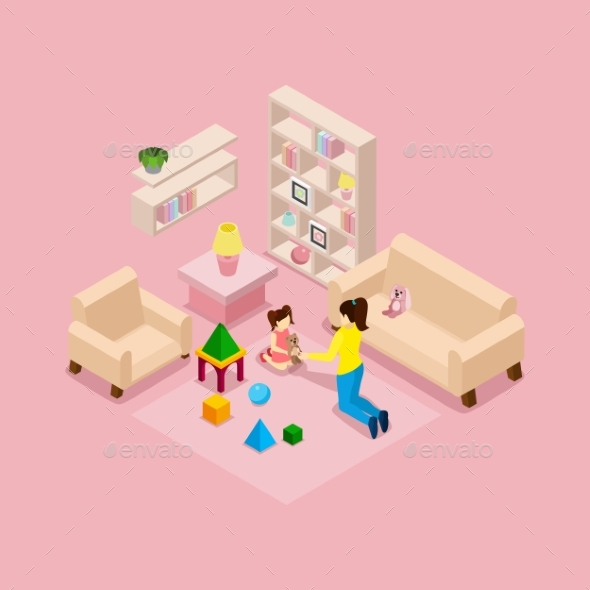 Mother and Daughter Playing Isometric Banner  - Miscellaneous Vectors