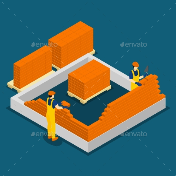 Building Construction Workers Isometric Banner - Industries Business