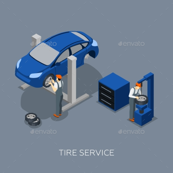 Tires Auto Service Isometric Banner - Services Commercial / Shopping