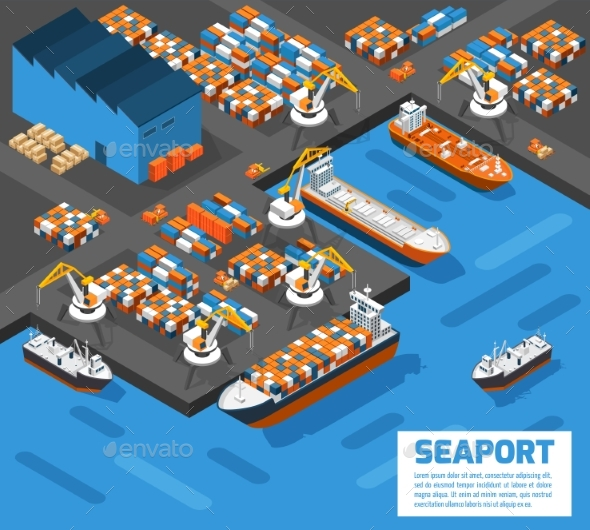 Seaport Isometric Aerial View Poster   - Miscellaneous Vectors