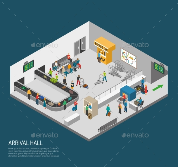 Arrival Hall Airport Poster - Travel Conceptual