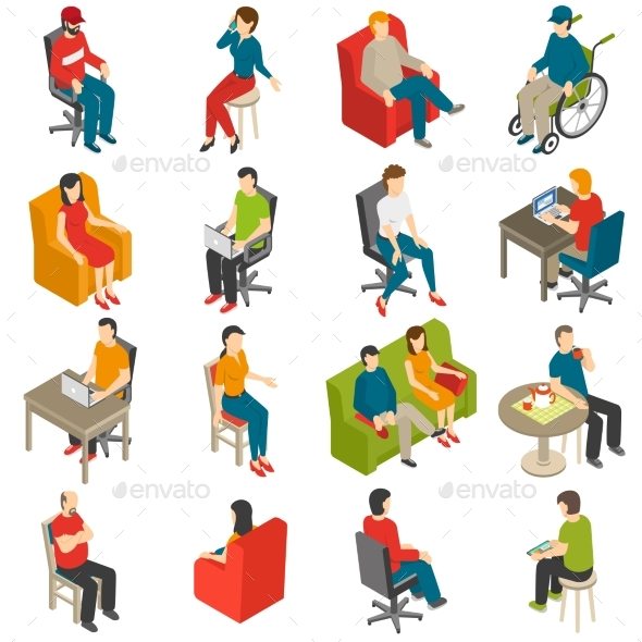Sitting People Isometric Icon Set - People Characters