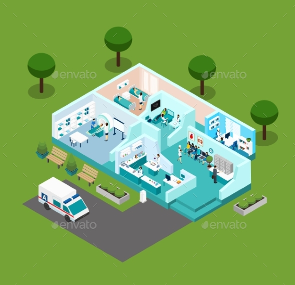 Medical Center Isometric Scheme Icons - Health/Medicine Conceptual