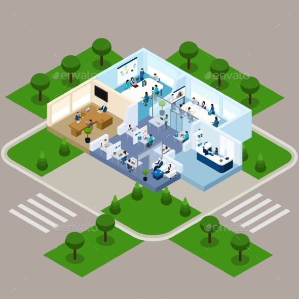 One Storied Office Isometric Interior - People Characters