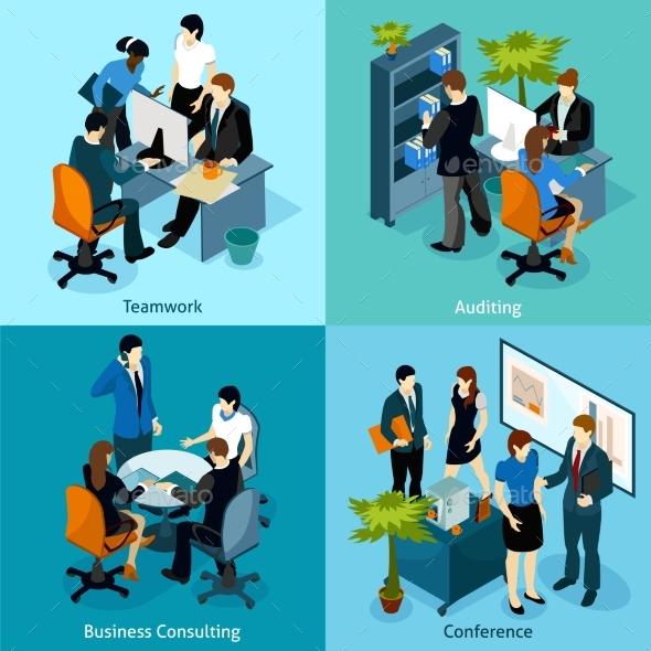 People on Work Isometric Icon Set - People Characters