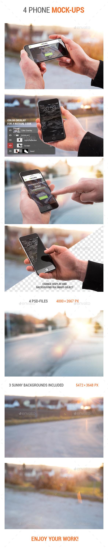 4 Phone Mock-Ups - Mobile Displays