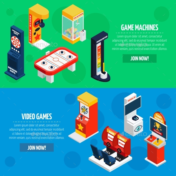 Game Machines 2 Isometric Banners Set - Miscellaneous Vectors