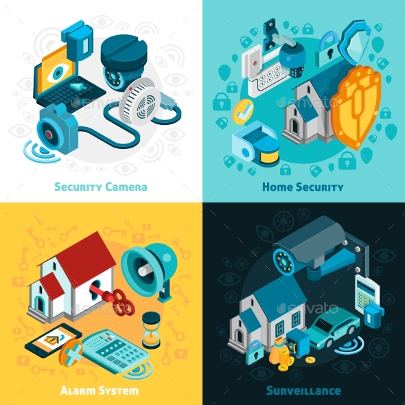 Security System Concept Icons Set  - Communications Technology