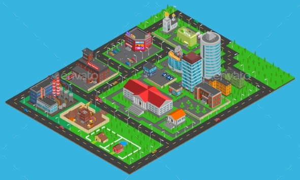 Modern City Isometric Map  - Buildings Objects