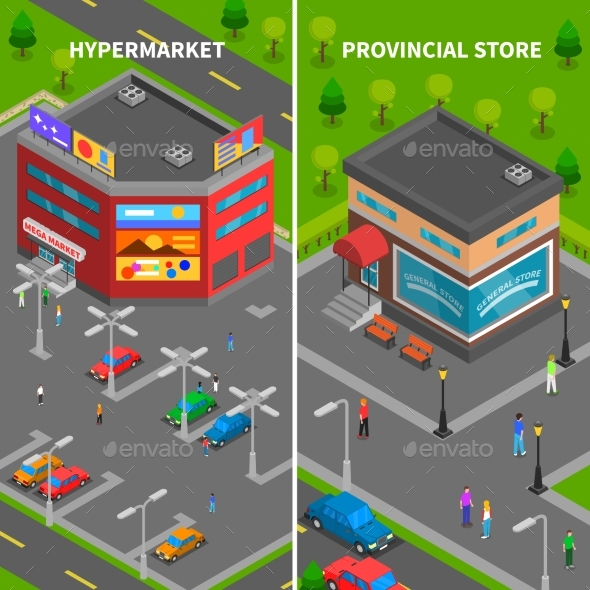 Store Buildings Isometric Vertical Banners - Buildings Objects