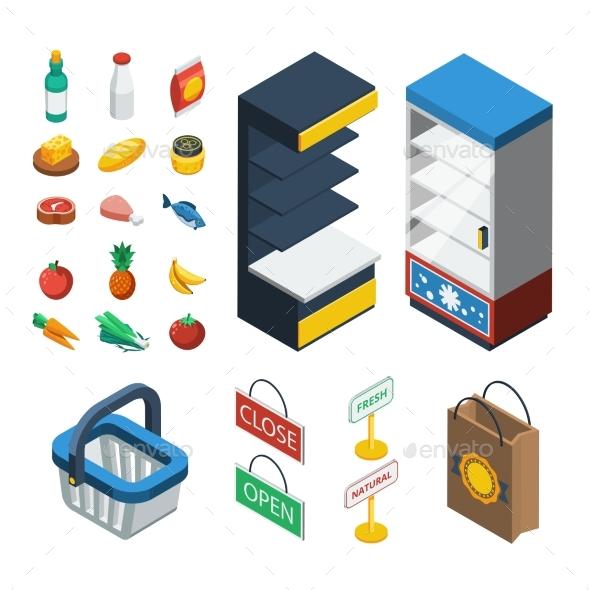 Supermarket Isometric Icon Set - Food Objects