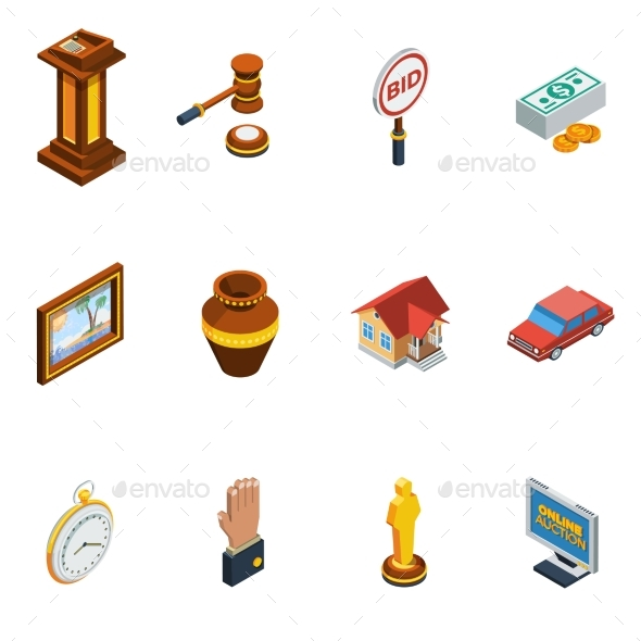 Isometric Auction Icon Set - Concepts Business