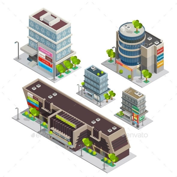 Shopping Center Buildings Complex Isometric - Buildings Objects