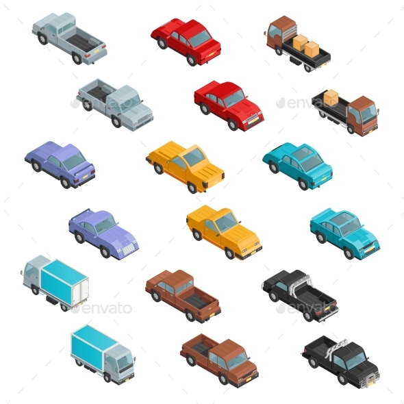 RoadTransport Colorful Isometric Icons  - Objects Icons