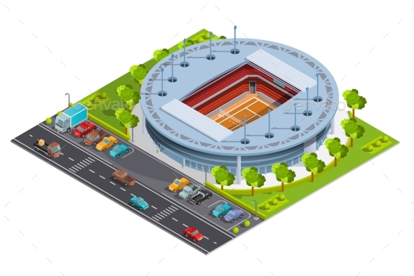 Tennis Sport Complex with Open Court Stadium - Sports/Activity Conceptual