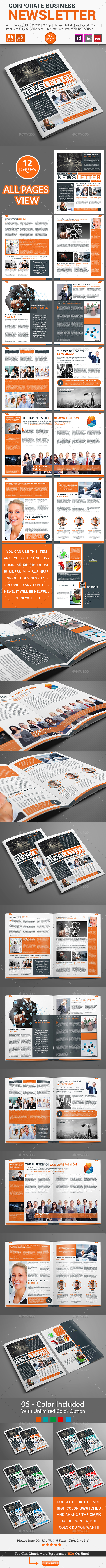 Newsletter For Corporate Business (12 pages) - Newsletters Print Templates