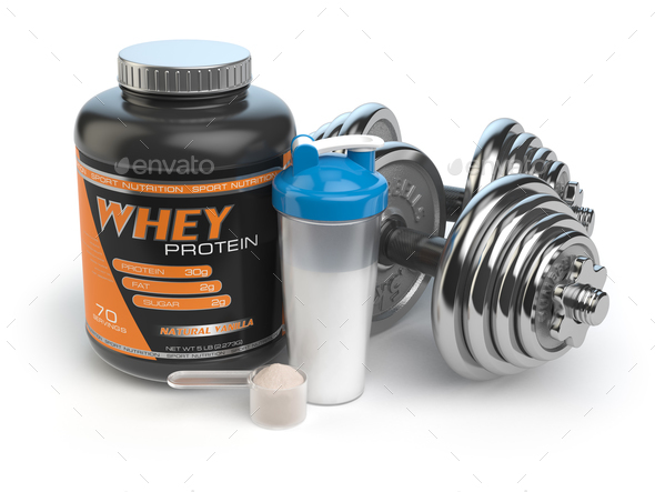 Sports bodybuilding  supplements or nutrition. Fitness or health - Stock Photo - Images