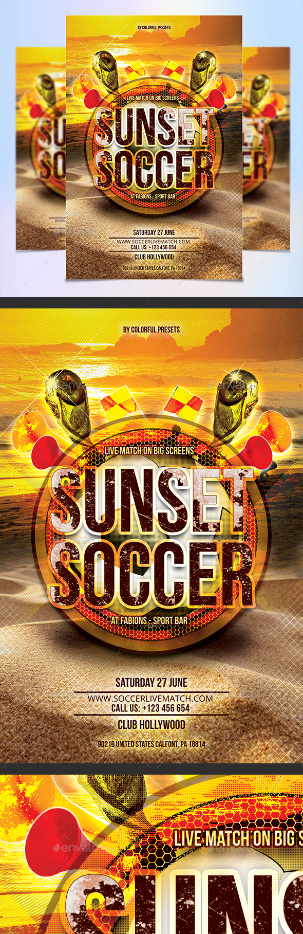 Sunset Soccer Flyer Template - Sports Events