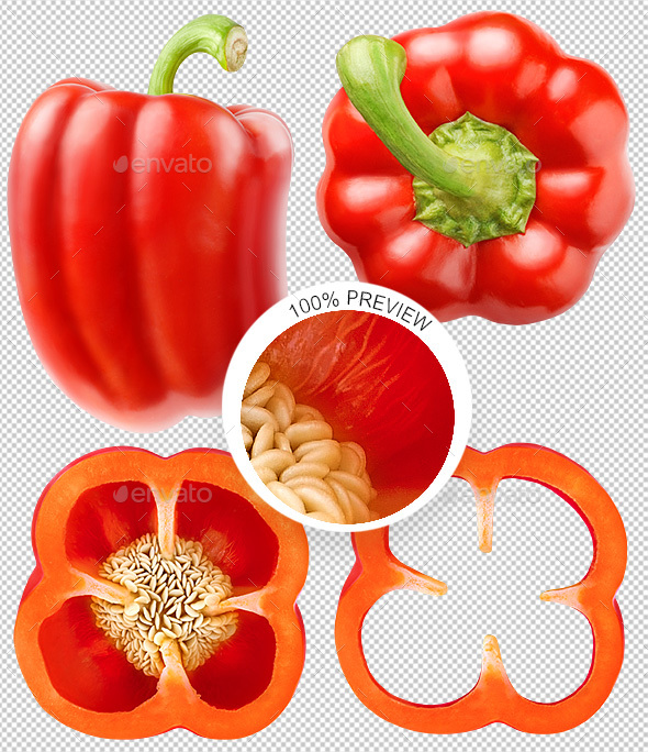 Collection of Isolated Red Bell Pepper photos - Food & Drink Isolated Objects