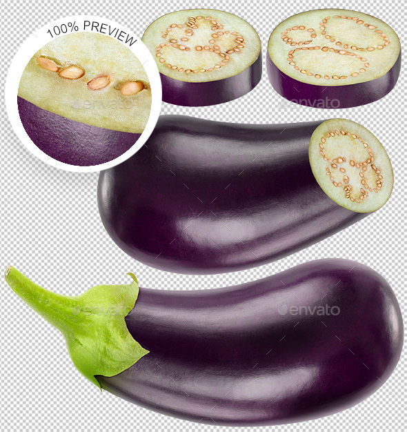 Collection of Isolated Eggplants Photos - Food & Drink Isolated Objects