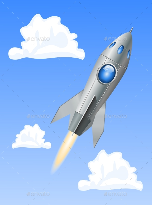 Rocket Space Ship on Blue Sky Background - Travel Conceptual