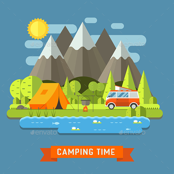 Camping Travel Landscape Flat - Travel Conceptual