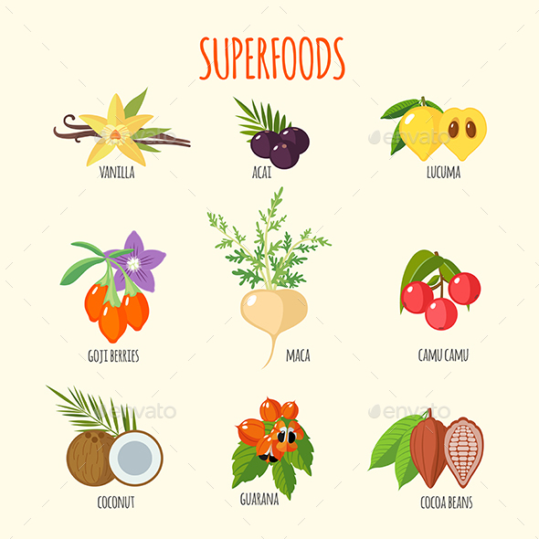 Set of Superfoods in Flat Style - Health/Medicine Conceptual