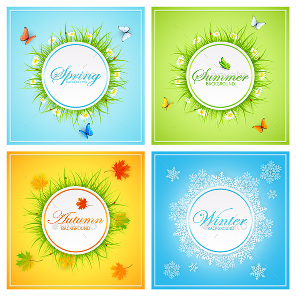 Set of Seasonal Cards - Seasons Nature
